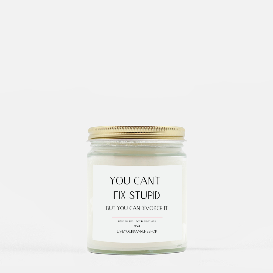 LiveYourDamnLifeShop [PMH40-BD.50410] You Can't Fix Stupid - Candle (Hand Poured 9 oz