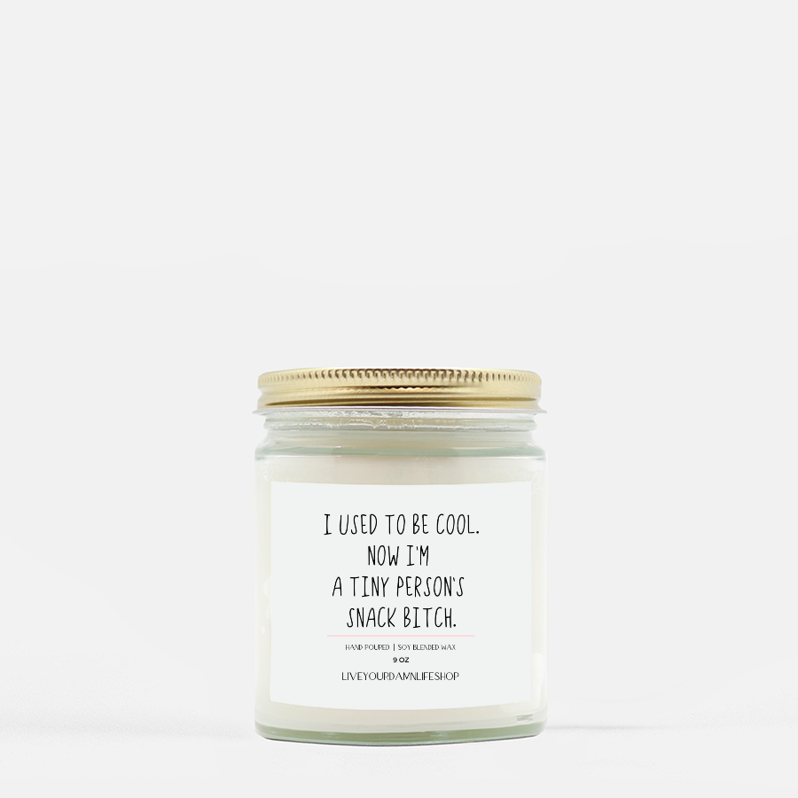 LiveYourDamnLifeShop [PMH40-BD.55072] I Used To Be Cool, Now I'm A Tiny Person's Snack Bitch - Candle (Hand Poured 9 oz
